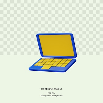 L'icône De L'ordinateur Portable 3d Objet Illustration Rendu Isolé Psd Premium PSD Premium