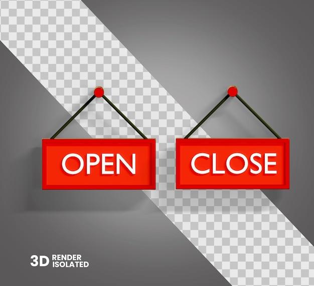 Icône d'ouverture et de fermeture 3d isolée