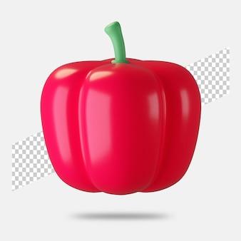 Icône de paprika rendu 3d isolé
