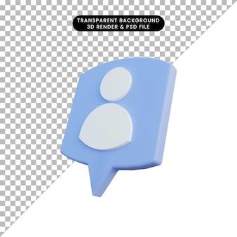 Icône de personnes illustration 3d sur le chat pop-up