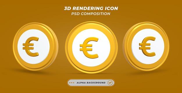 Icône de pièce en euro dans le rendu 3d