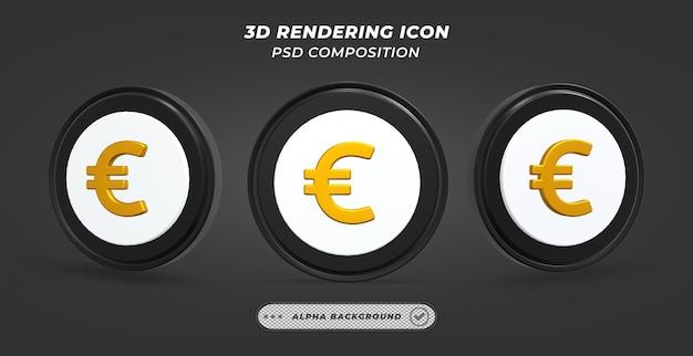 Icône de pièce en euro noir et blanc en rendu 3d