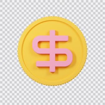 Icône de pièce de monnaie dollar isolé sur blanc image de rendu 3d