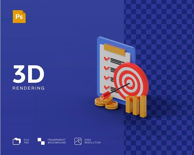 Icône de plan cible 3d en rendu 3d isolé