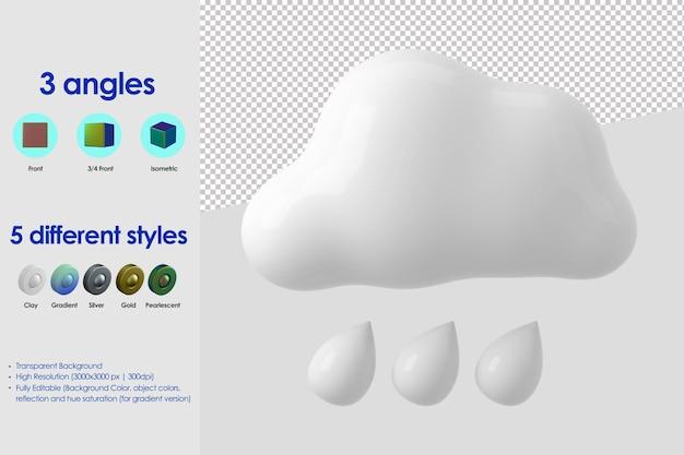 Icône pluvieuse 3d