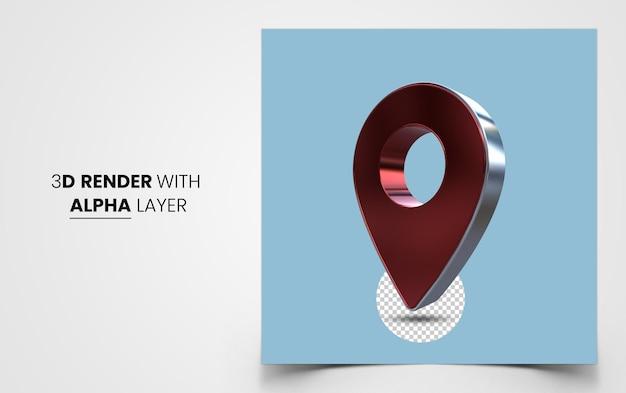 Icône de pointeur de broche de carte 3d réaliste rouge isolé