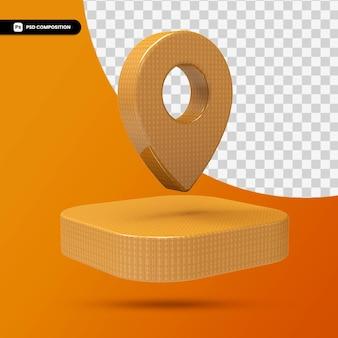 Icône de pointeur de carte en bois de rendu 3d isolé