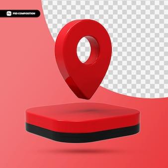 Icône de pointeur de carte rouge rendu 3d isolé