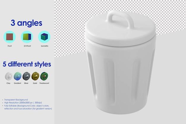 Icône de poubelle 3d