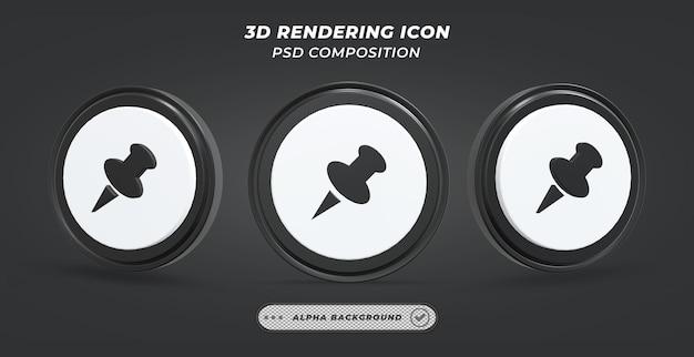 Icône de punaise noir et blanc en rendu 3d