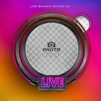 Icône réaliste 3d moderne en direct avec néon et grille aux couleurs instagram