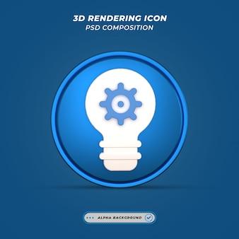 Icône de réglage de thème d'idée dans le rendu 3d