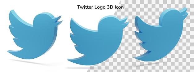 Icône de rendu 3d actif du logo twitter flottant isolé