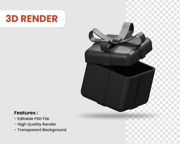 Icône de rendu 3d de boîte-cadeau couleur sombre isolée