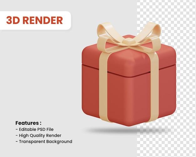 L'icône de rendu 3d de boîte-cadeau isolé