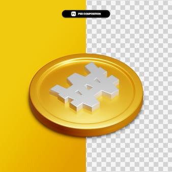 Icône de rendu 3d sur cercle doré isolé