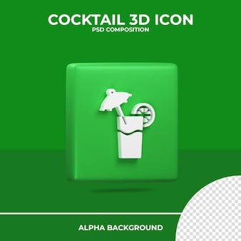 L'icône de rendu 3d cocktail été