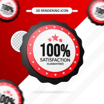 Icône de rendu 3d garantie de satisfaction à 100 %