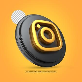 Icône de rendu 3d isolé métallique doré instagram dans le rendu 3d