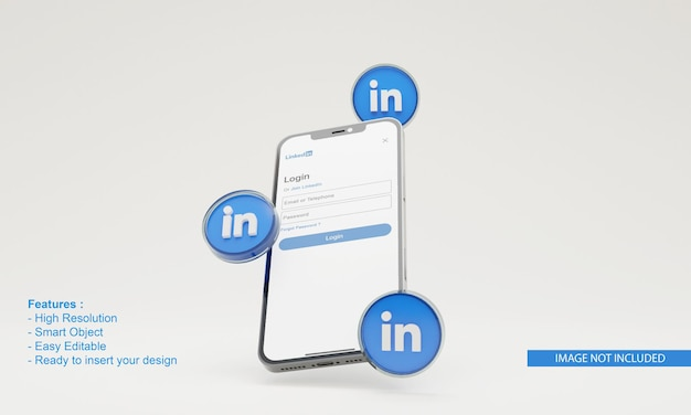 Icône de rendu 3d liée à la maquette de téléphone mobile d'illustration
