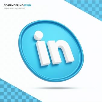 Icône de rendu 3d de linkedin