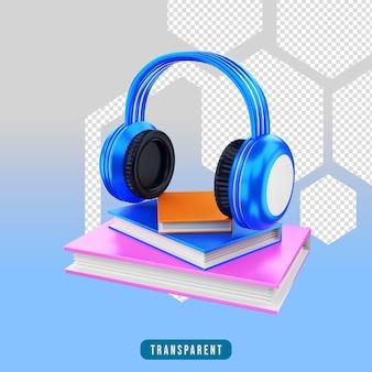 Icône de rendu 3d livre audio