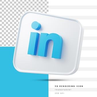 Icône de rendu 3d des médias sociaux linkedin