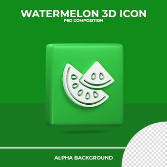 L'icône de rendu 3d pastèque été