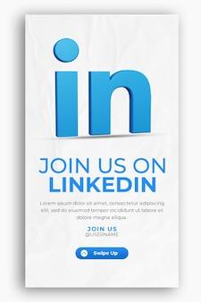 Icône de rendu 3d pour le modèle d'histoire de linkedin et de médias sociaux