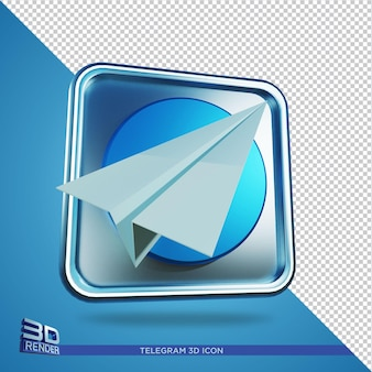 Icône de rendu 3d télégramme isolé