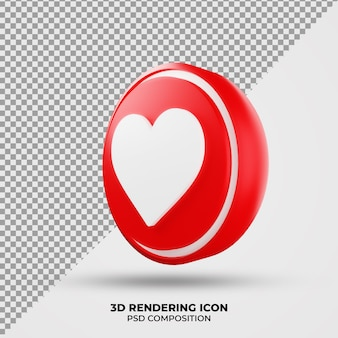 Icône De Rendu D'amour 3d PSD Premium