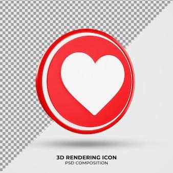 Icône de rendu d'amour 3d