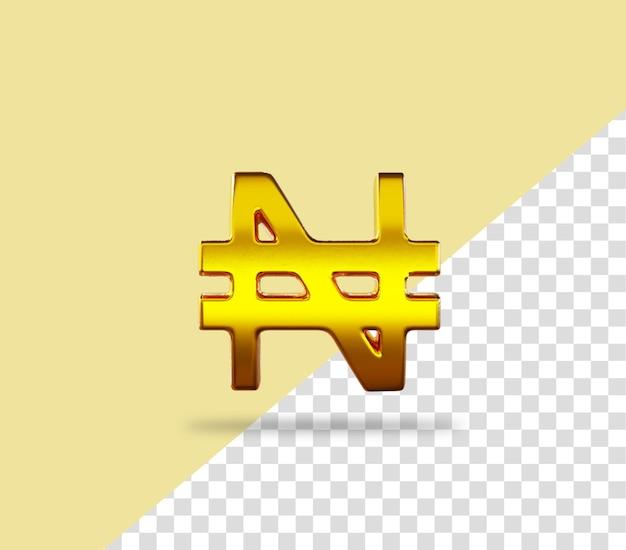 Icône de rendu doré signe naira