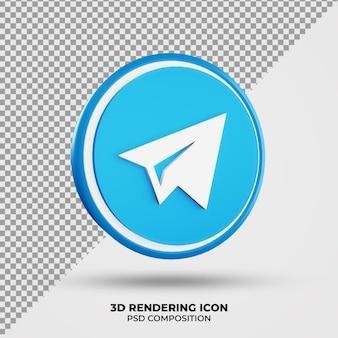 Icône de rendu de télégramme 3d