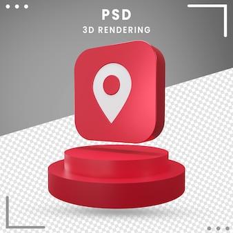 Icône de rotation 3d rouge emplacement isolé