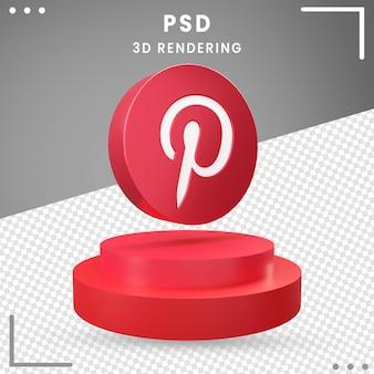 Icône de rotation 3d rouge pinterest isolé