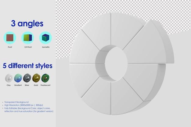 Icône de roue de couleur 3d