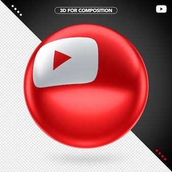Icône rouge youtube ellipse rouge en rotation 3d