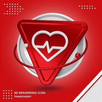 Icône de rythme cardiaque réaliste dans le rendu 3d