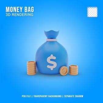 Icône de sacs d'argent 3d, style cartoon