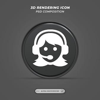 Icône de service client noir et blanc en rendu 3d