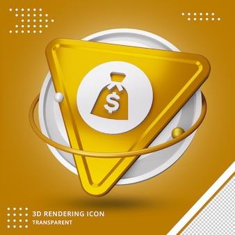 Icône de signe dollar réaliste rendu 3d