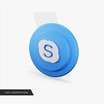 Icône de skype en rendu 3d isolé
