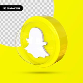 Icône de snapchat, application de médias sociaux. rendu 3d