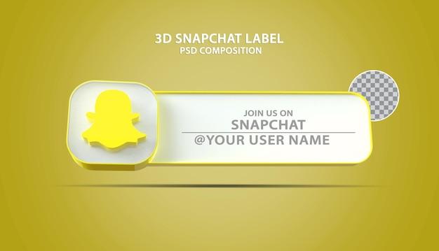 Icône de snapchat de bannière 3d avec zone de texte d'étiquette