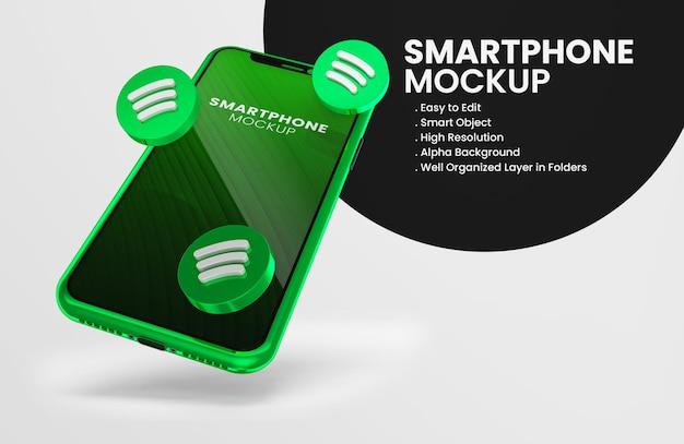 Icône spotify de rendu 3d sur la maquette du smartphone vert