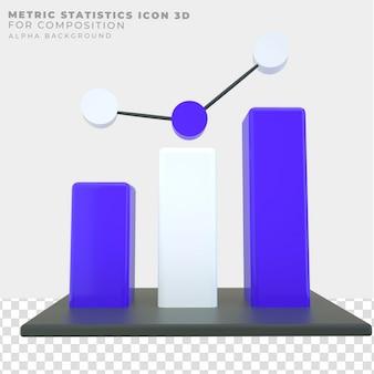Icône de statistiques de métrique de rendu 3d