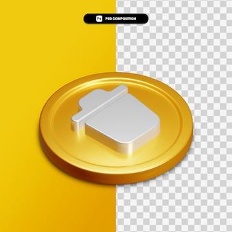 Icône de suppression de rendu 3d sur cercle doré isolé