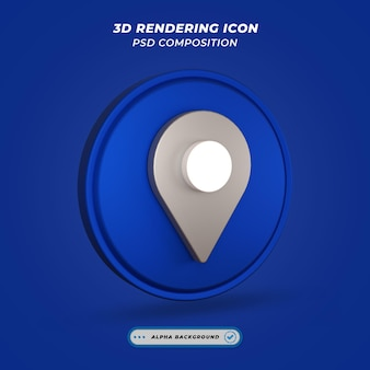 Icône de symbole de carte de localisation dans le rendu 3d
