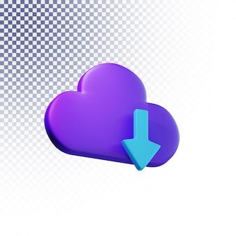 Icône de téléchargement cloud haute qualité rendu 3d concept isolé